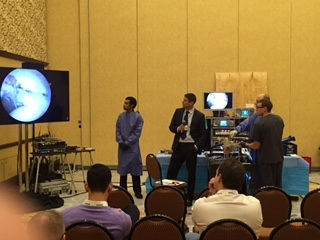 Dr. Gerhardt lecturing/moderating a new technique on labral reconstruction
